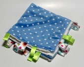 Minkee Ribbon Blanket Blue Polka dot and White dimple dot, 16 X 16.  Lovey, security blanket.