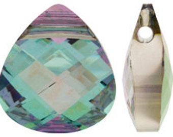 Set of 2 Swarovski 6012 15x14mm Vitrail Light Flat Briolette Pendants (sku 6276 - 6012-15-VL)