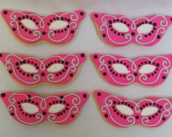 One Dozen - Mardi Gras Masquerade Masks Cookie Party Favors