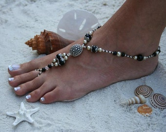 Barefoot Sandal - Antique Style with black and beige pearls, Swarvoski Crystals