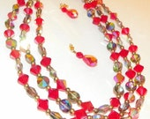 Red Vintage Crystal Necklace and Earrings 1960's