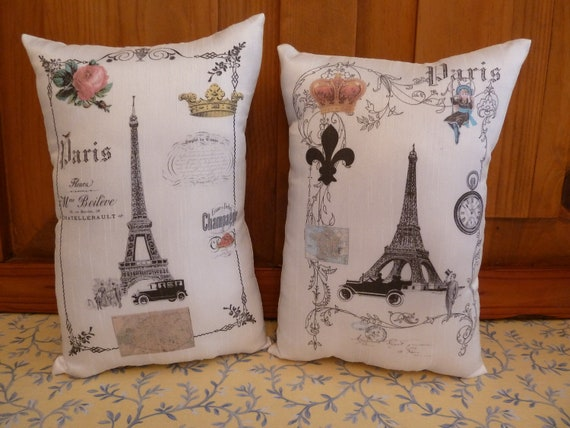 Vintage Set of 2 Collage of Paris  Small Cushions