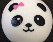1pc JUMBO Kawaii 10cm Panda Girl Pink Bow Squishy Phone Strap Charm