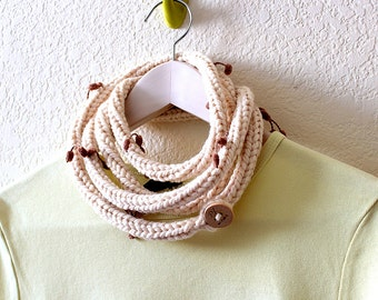 Knitted necklace scarf - Cream extra long fringe skinny infinity scarf rope necklace by PL wear
