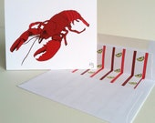 Maine Lobster Greeting Card Lined Envelope Red Lobster Coastal Note Card Boston Lobster Card Seafood Shellfish Greeting Card Coastal Cuisine