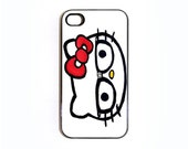 Apple iPhone 4 4G 4S 3D Printed Matte  Case Skin Cover Cute Retro Vintage Hello Hipster Kitty Glasses Available in Black or White Hard Case.
