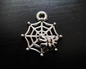 8 tibetan silver Spider on Web