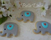 Adorable Baby Elephant Cookies- 1 Dozen (12 cookies) Baby Shower Favor - Birthday Gift - Blue and Grey