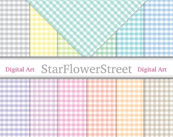Instant Download - Gingham Plaid Check Digital Paper, shabby chic - pastel pink blue green printable scrapbook digital download background