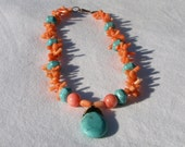 Turquoise and coral necklace, wire wrapped turquoise briolette
