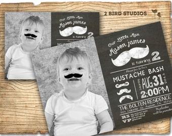 Little man mustache birthday party invitation - mustache invitation - DIY printable little man chalkboard mustache invite
