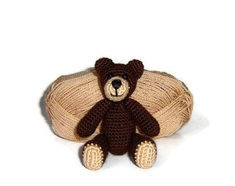 Amigurumi little crochet brown teddy bear, Made to order