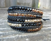 Beaded Leather Wrap Bracelet 4 or 5 Wrap with Black Gold and Copper Polished Czech Glass Beads on Black Leather As Seen on Hart of Dixie