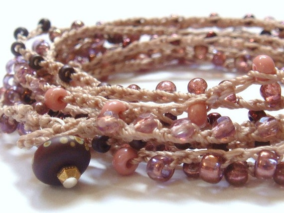 Valentine Rose And Cranberry Beaded Crochet Wrap Bracelet Or Necklace Glass Beads Art Bead Clasp
