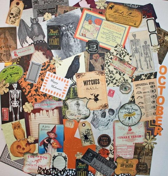 Vintage Halloween ephemera collage pack 68 pieces