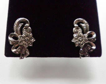 Vintage Sterling Silver and Marcasite Flowers and Ribbons  Earrings Circa 1940