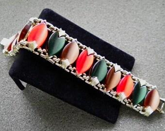 Orange, Green, Mocha Brown Lucite Plastic Cabochons Colorful Vintage Wide Links Bracelet  Excellent vintage 1960s