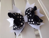 Navy & White Stacked Boutique Bow