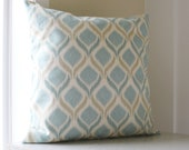 Blue Ikat Pillow Cover - Blue Ikat Throw Pillow - 18 x 18 - Cyan Teal Sea foam Pillow Cover