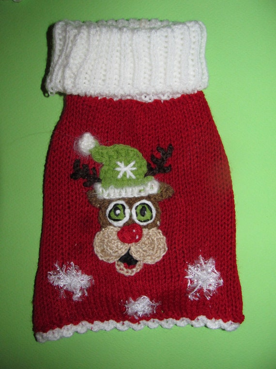 Sweater dog red white
