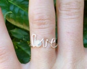 Love Ring - Silver Wire and Pearl 'Love' Word Ring - Mother's Day Gift - For someone special - Adjustable or Fixed Size