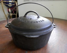 antique 5 QT Griswold Wagner Ware Drip Drop Roaster No 8 Lidded with Trivet Made in USA