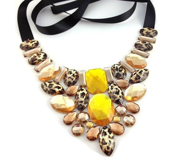 bib leopard necklace bib leopard golden yellow rhinestone necklace party necklace brom necklace everyday necklace