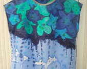 hand painted Blue flower top