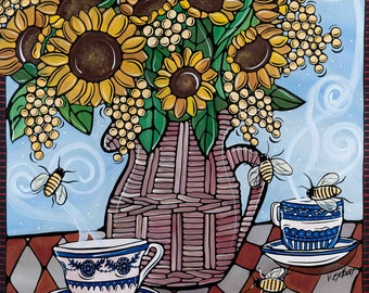 """Sunflower Art Print. flowers and Tea - Kitchen Artwork. French Country Decor, Illustration Print - 8x8"""" Yellow Sunflowers."""
