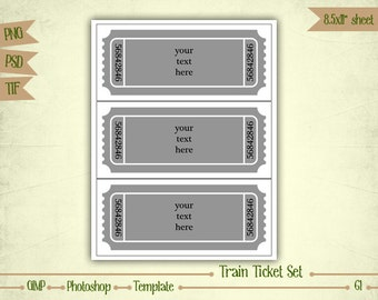 Train Ticket Invitation Set - Digital Collage Sheet Layered Template - (T061)