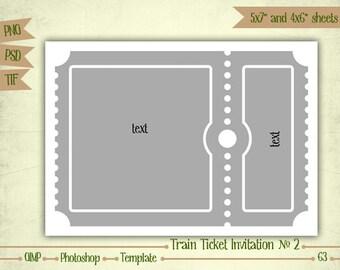 Train Ticket Invitation N2 - Digital Collage Sheet Layered Template - (T063)