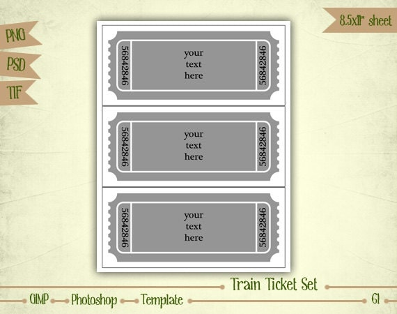 Train Ticket Invitation Set Digital Collage Sheet Layered
