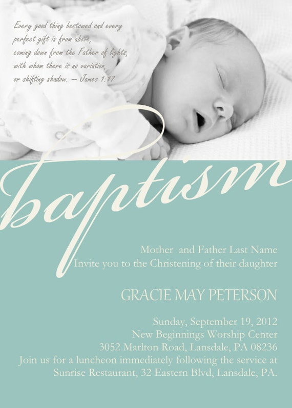 Modern Baby Dedication Christening Photo Invitation