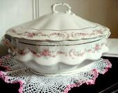 Vintage  Soup Tureen LS & S Carlsbad Austria Covered Dish 1891-1917 Pink Rose Garland Pattern Vintage