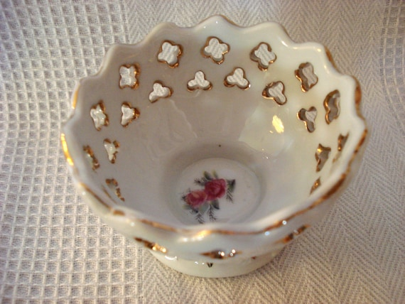 Vintage Glass Basket Rose Miniature Gold Trimmed Shabby Chic