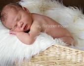 Ivory White Mongolian Faux Fur Photography Photo Prop Newborn Nest- Ready To Ship