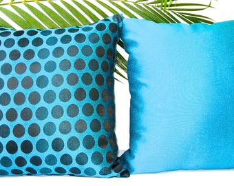 Throw Pillow Set of 2, Blue Black Throw Pillows, Blue Throw Pillow, Pillow Set, Decorative Pillow, Cushion Covers, Blue, Black, Shiny, 18x1