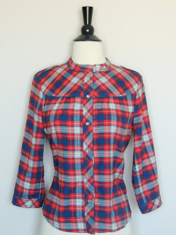 Vintage WESTERN SHIRT Plaid Cowboy with Pearl Snap Buttons
