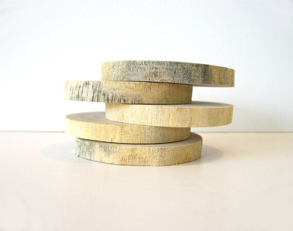 5 Rustic Wood Slices for Weddings or Craft Projects Without Bark Ready to ship