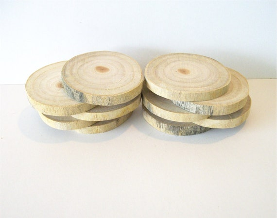 10 Rustic Wood Slices Wooden Rounds for Weddings or Craft Projects Ready to Ship