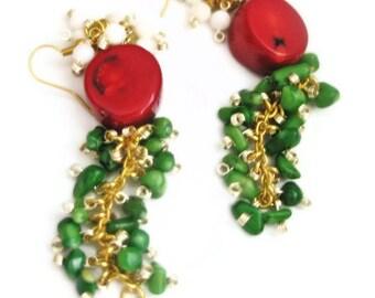 Women's earrings-women's jewelry-red coral earrings-green coral earrings-gold plated earrings-cluster earrings-coral earrings-long earrings