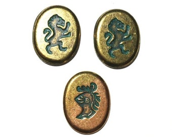3 Oval Antique Brass Patina Stamping