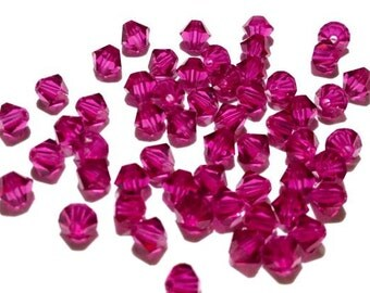 100 - 4mm Fuchsia 5301 Swarovski Crystals