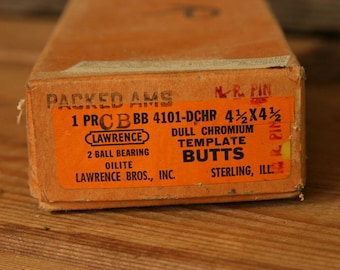 Pair Lawrence Made in USA 4 1/2 x 4 1/2 Template Butts Hinges, Dull/Flat Chrome New Old Stock NIB, Vintage Industrial Hardware
