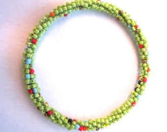 Handmade light green bead bracelet, gifts for her, pakistani jewelry, holiday gifts