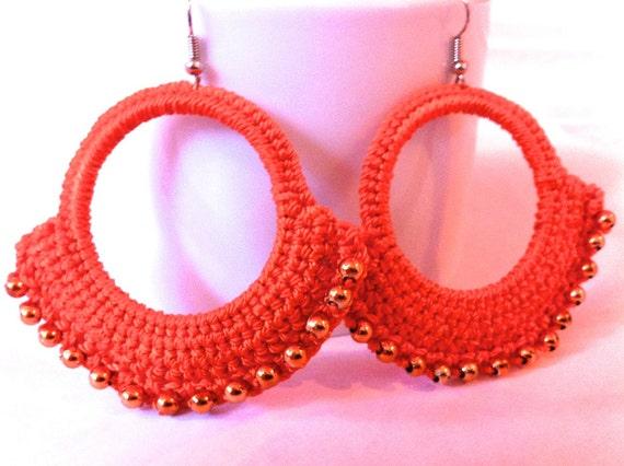 Handmade orange belly dancer crochet earrings with orange beads, gifts for her, crochet earrings, arabian earrings