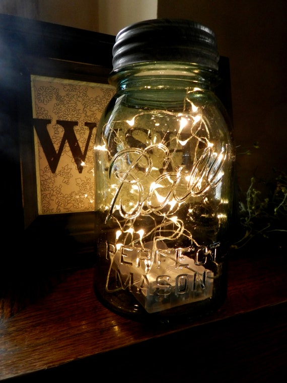 Fireflies in a Mason Jar/ LED Battery Operated Lighted Vintage Blue Mason Jar/Lights are Submersible