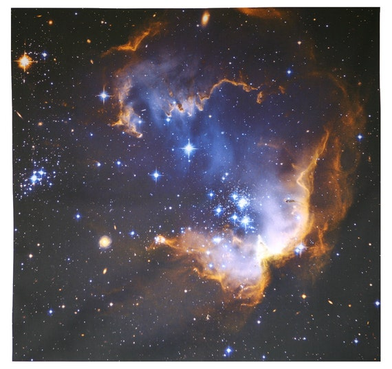 Infant Stars Hubble Astronomy Fabric Print 24 x 24 inch on Organic Cotton Sateen