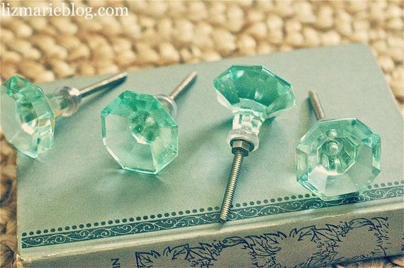 Mint Green Glass Hardware set of 4