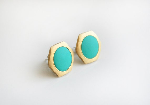Turquoise Geometric Hexagon earrings studs -Large-